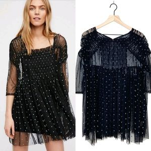 NEW Free People Saya Mesh Tunic Top Polka Dot